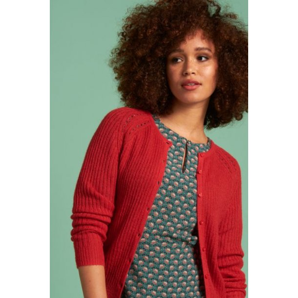Cardigan King Louie Roundneck Fluffy Fiery Red