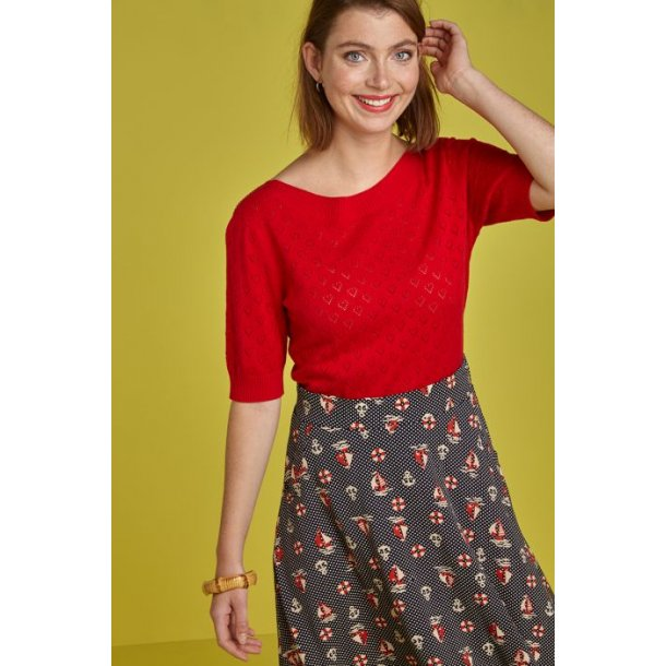 Bluse King Louie Audrey Heart Ajour Red